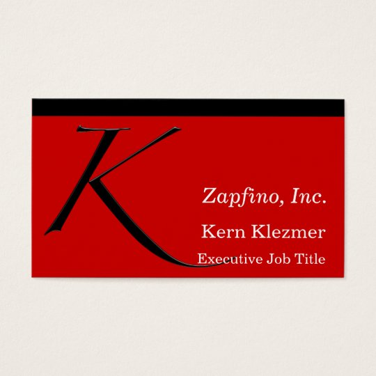 K - Initial on Red Business Card