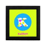 K Initial  Personalised Name Girls Jewellery Box Trinket Box