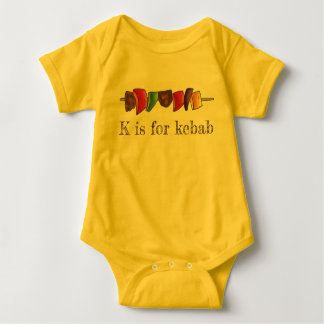 K is for Kebab Shish Kebabs Veggie Skewer Alphabet Baby Bodysuit