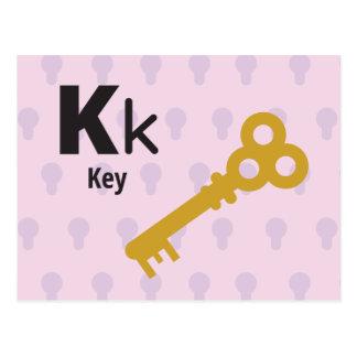 "K is for Key - Alphabet Flash Card - 5.5 x 4.25"""