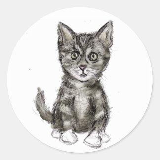 K is for Kitten Round Sticker