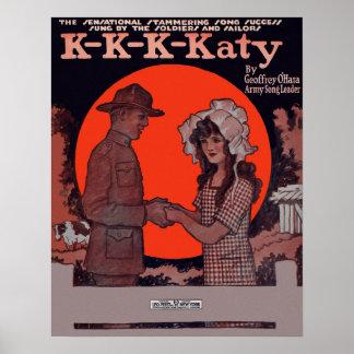 K-K-K-Katy Early 1900's Sheet Music Cover Poster