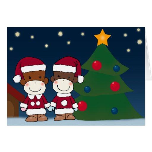 K&K Sock Monkey Christmas Greeting Card