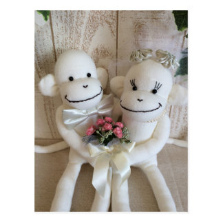 K&K Sock Monkey Wedding(Pink) Postcard