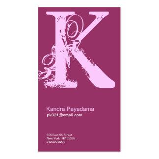 K Letter Alphabet Business Card Pink Purple