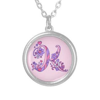 K monogram decorative letter necklace