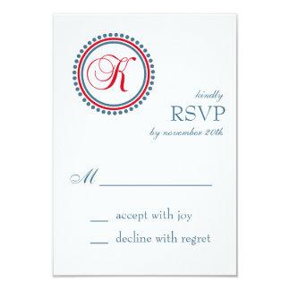"K Monogram Dot Circle RSVP Cards (Red / Blue) 3.5"" X 5"" Invitation Card"
