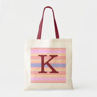 K :: Monogram K Summer Stripes Fun Tote Bag
