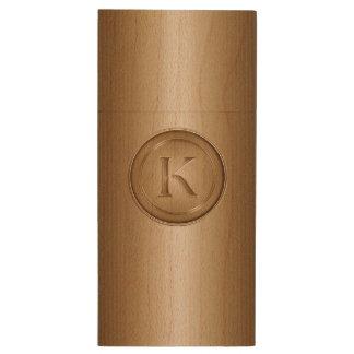 K Monogram Wood USB 2.0 Flash Drive