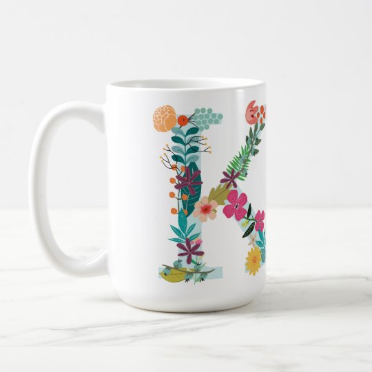 K Monogram Mug, Floral K Initial, Botanical Coffee