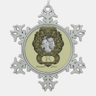 K - The Falck Alphabet (Golden Pewter Snowflake Decoration