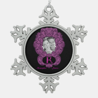 K - The Falck Alphabet (Pink) Pewter Snowflake Decoration