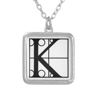 K- Typography Initial Silver Plated Necklace