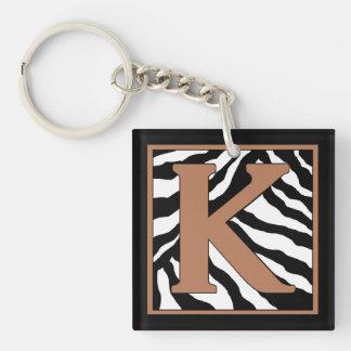 K-Zebra Skin Monogrammed Keychain