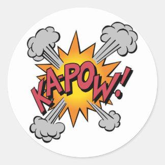 Ka Pow! Cartoon Round Sticker