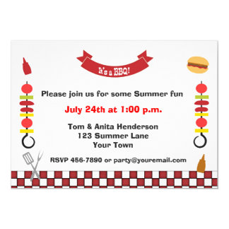 Kabobs and Barbecue 13 Cm X 18 Cm Invitation Card