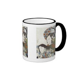 Kabuki actors Utaemon III and Iwai Shijaku, Hok... Ringer Coffee Mug