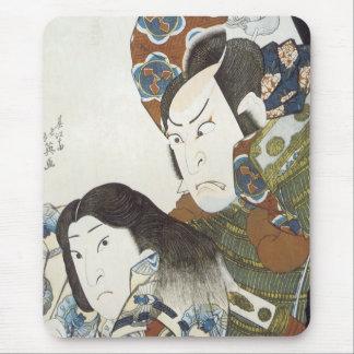 Kabuki actors Utaemon III and Iwai Shijaku, Hokuei Mouse Pad