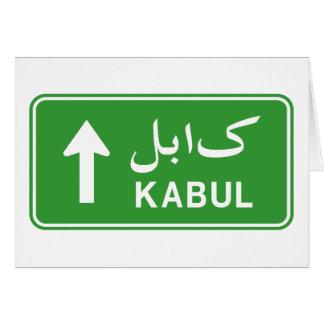 Kabul, Afghanistan Highway Traffic Street Sign Card
