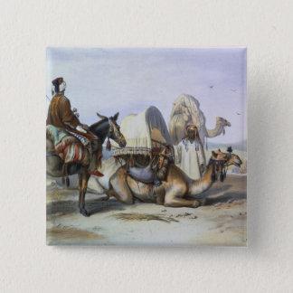 Kafila with a Camel Bearing a Hodesh, illustration 15 Cm Square Badge