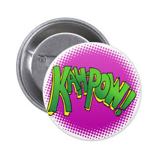 Kah Pow Comic Book Text 6 Cm Round Badge