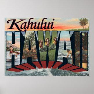 Kahului Hawaii - Large Letter Scenes Poster