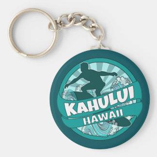 Kahului Hawaii teal surfer logo keychain
