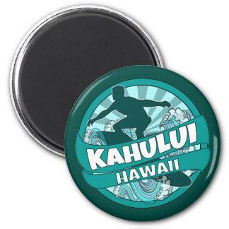 Kahului Hawaii teal surfer logo magnet
