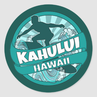 Kahului Hawaii teal surfer logo stickers