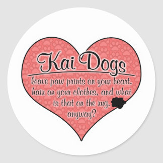 Kai Dog Paw Prints Humor Round Stickers