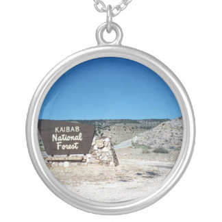 Kaibab National Forest Sign Round Pendant Necklace