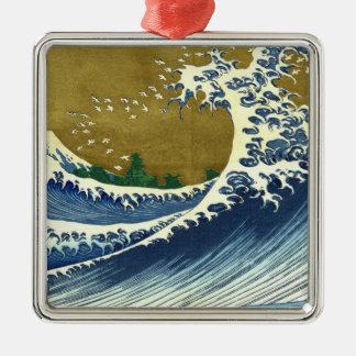 Kaijo no Fuji Hokusai wave Kanagawa masterpiece Silver-Colored Square Decoration