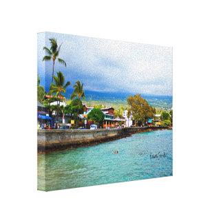 Kailua Kona Pier Hawaii Oil Paint Digital Art Canvas Print