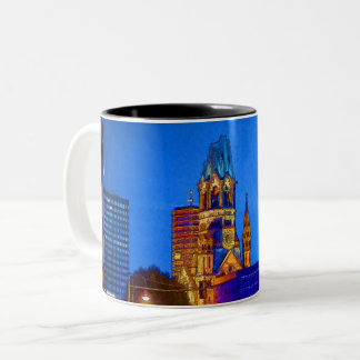 Kaiser Wilhelm Memorial Church, Berlin, Illu Two-Tone Coffee Mug
