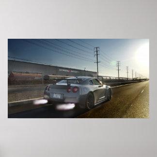 """Kaji"" Nissan GT-R Shooting Flames in California Poster"