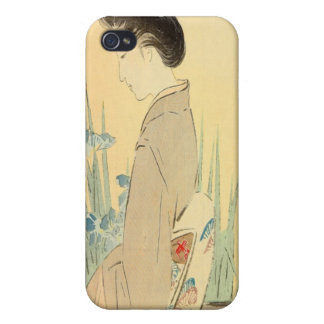 Kajita, Beauty and Irises Japanese Woodblock Print iPhone 4 Cover