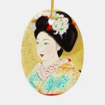 Kajiwara Hisako A Kyoto Maiko geisha fine art Ceramic Oval Decoration