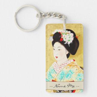 Kajiwara Hisako A Kyoto Maiko geisha fine art Double-Sided Rectangular Acrylic Key Ring