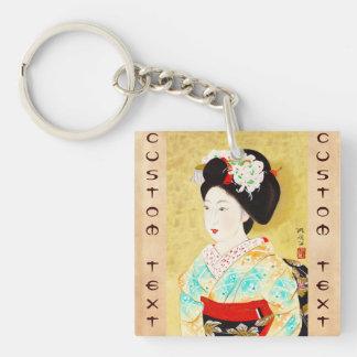 Kajiwara Hisako A Kyoto Maiko geisha fine art Double-Sided Square Acrylic Key Ring