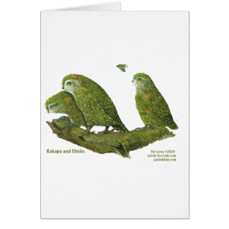 kakapo and chicks greeting card