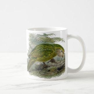 Kakapo Green Parrot Vintage Illustration Basic White Mug