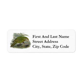 Kakapo Green Parrot Vintage Illustration Return Address Label