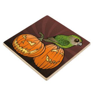 Kakapo Halloween Maple Wood Coaster