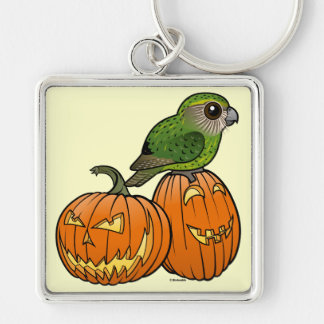 Kakapo Halloween Silver-Colored Square Key Ring