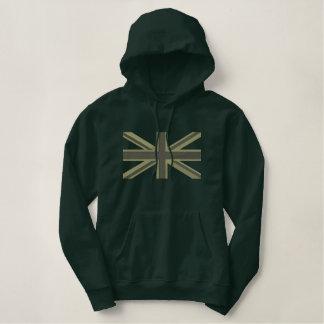 Kaki Union Jack Flag England Swag Embroidery Embroidered Hoodie
