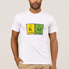 Shirt featuring the name Kal spelled out in symbols of the chemical elements