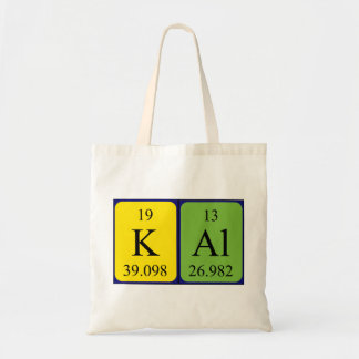 Kal periodic table name tote bag