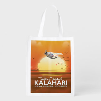 Kalahari Desert Adventure travel poster Reusable Grocery Bag