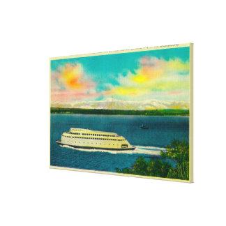 Kalakala Ferry, Puget Sound, Olympic Mountains Canvas Print
