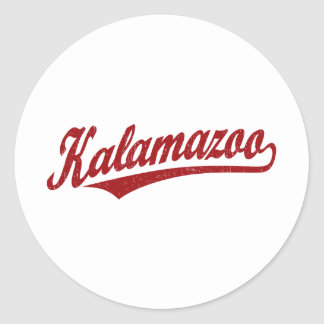Kalamazoo script logo in red distressed round stickers
